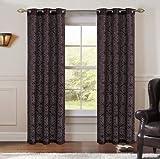 Pair of Perla Magenta/Black Jacquard Window Curtain Panels w/Grommets