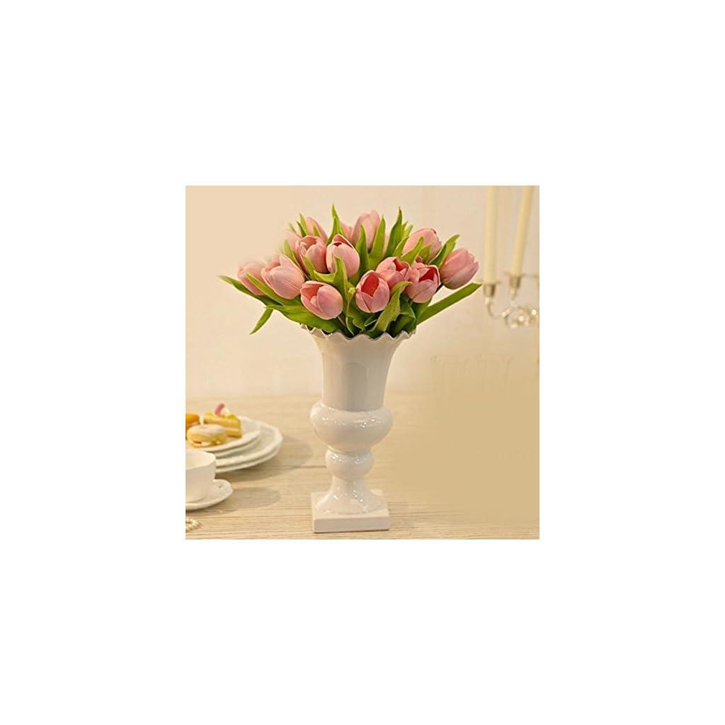 Lorigun 10 Heads Artificial Tulips Real Touch PU Tulips Flowers Arrangement Bouquet Home Room Office Centerpiece Party Wedding Decor Pink