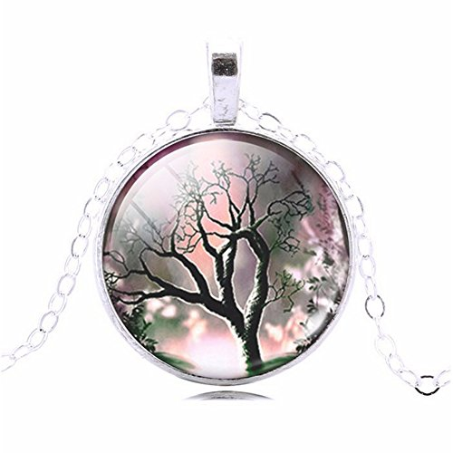 Romantic Sillouette Tree of Lifel Glass Cabochon Art Picture Round Pendant Necklace, 20 - 22 - Sillouette Glasses