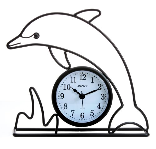 "Maple's Dolphin Silhouette Table Clock - Package Height of the Product: 1.0"" Package Length of the Product: 1.0"" Pacakge Width of the Product: 1.0"" - clocks, bedroom-decor, bedroom - 51S7BdAK5kL -"