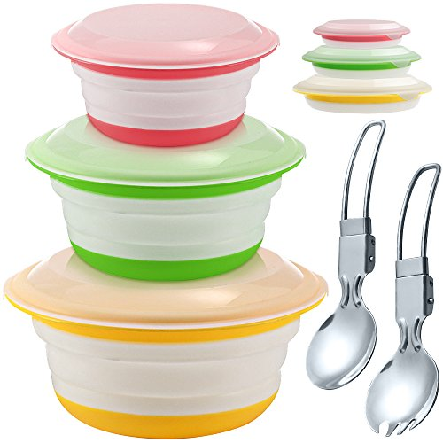 Silicone Collapsible Storage Bowls with Lids - Set of 3, IHUIXINHE Food Grade Silicone FDA Approved, Foldable Expandable Bowls for Food Water Feeding, Portable Travel Bowl, Free Foldable Spoon & Fork ()