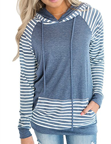 Blue Striped Hoodie Sweater - 6