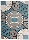 Rugshop 369Blue5x8 Modern Scroll Circles Design