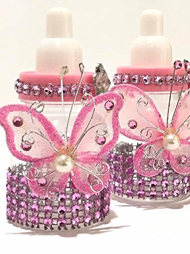 Amazon Com 10 Pink Fillable Butterfly Bottles Baby Shower Favors