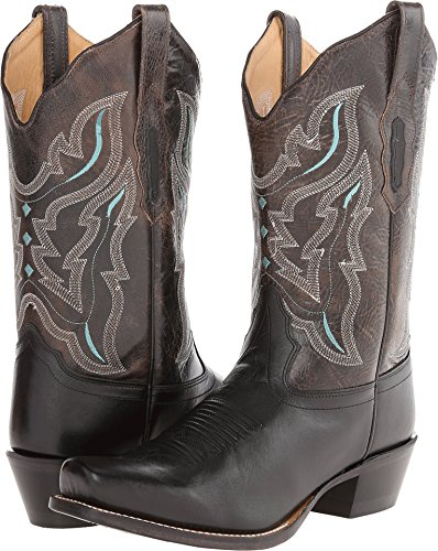 Old West Women's Embroidered Cowgirl Boot Square Toe Black 6.5 M US
