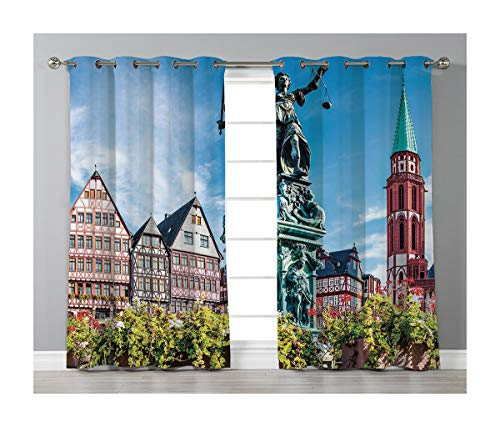 Goods247 Blackout Curtains,Grommets Panels Printed Curtains for Living Room (Set of 2 Panels,55 by 63 Inch Length),European