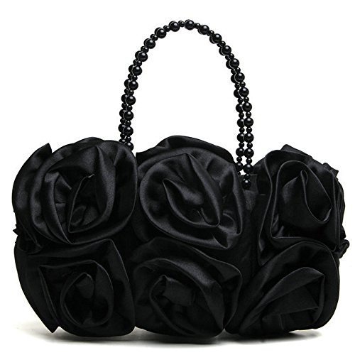 Satin Rose Pure Color Evening Bag Evening Clutches for Women Handbag Purse Wedding Handbags with Pearl Beaded Chain Handle Black (Bag Beaded Pink Evening)