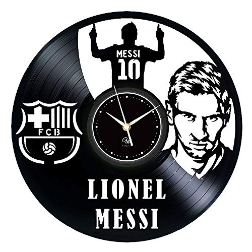 Barcelona Football Legend Messi - Vinyl Wall Clock Nostalgic Disc- Decorate Your Home/Office/Reception/Study Room, Gift for Father's Day or for Boyfriend 12-Inch,Black (T2) ()