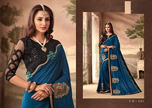 Da Saree Elegante Etnico Sari Cerimonia Festival Satin Dress Abiti Designer Ricamo Georgette Indian 7225 Con nRUt74W4