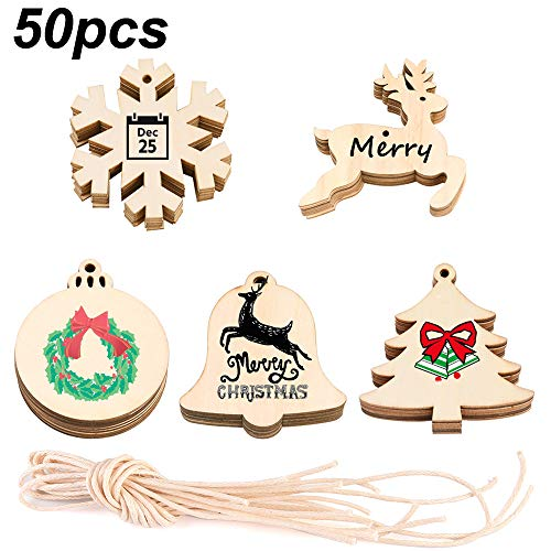 CHICHIC 50pcs Christmas Tree Wood Ornaments DIY Wood Slices Xmas Tree Ornaments Wooden Crafts Unfinished Wood Slice Christmas Decorations Ornament Gift Hanging Decoration Predrilled Pre Cut Strings