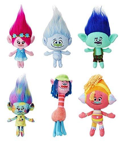 Dreamworks Trolls Movie 12'' Plush Doll Set of 6 - Poppy, Harper, Branch, Cooper, DJ Suki and Guy Diamond by Trolls