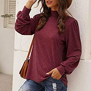 Rikay Womens Clothes Long Sleeve Tops Jumper Pullover Plain Button Tunic Tops Casual T Shirt