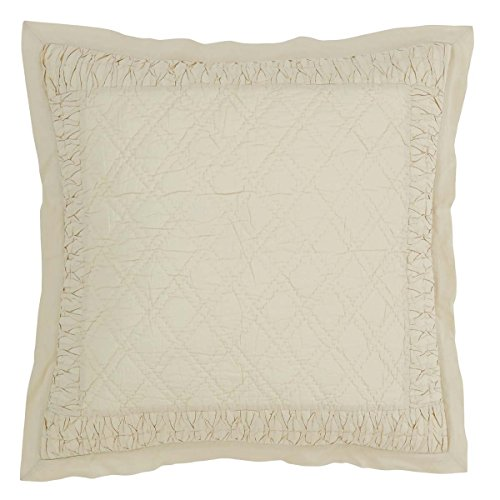 VHC Brands Farmhouse Bedding - Adelia Tan Quilted Euro Sham, Creme (Pillow Euro Shams Quilted 3)