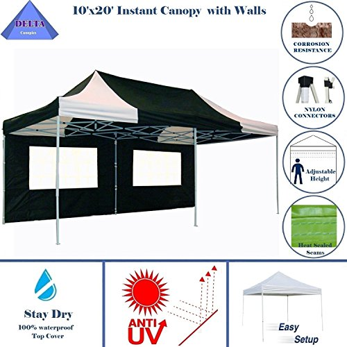 nopy Party Tent Instant Gazebo 100% Waterproof Top with 6 Removable Sides Black/White - E Model By DELTA Canopies (Party Tent Top)