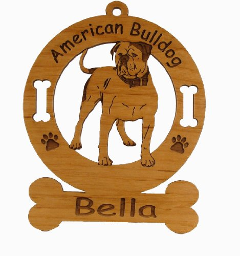 1183 American Bulldog Standing Ornament Personalized with Your Dog's Name