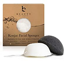 Beauty by Earth Konjac Facial Sponge; 2 Pack Set; Natural Bamboo Charcoal for Cleansing Sensitive to Oily and Acne Prone Skin; Gentle Deep Pore Face Exfoliating Scrub Cleanser for Men and Women