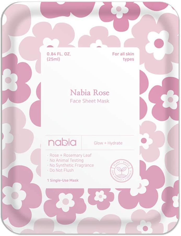 Nabia Rose Glow Face Sheet Mask with French and Damask Rose, Cica(1 Sheet)