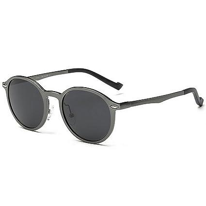 Novedad diseñador tonos Vintage gafas de sol redondas de los hombres de aluminio y marco de