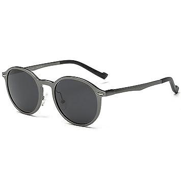 Retro Vintage gafas de sol redondas de los hombres de aluminio y marco de magnesio lente