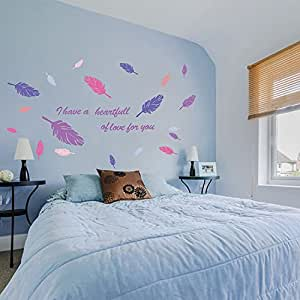 Angel Feather Decorative Wall Sticker Romantic Quotes Eternal Love Wallpaper Living Room Home Decor