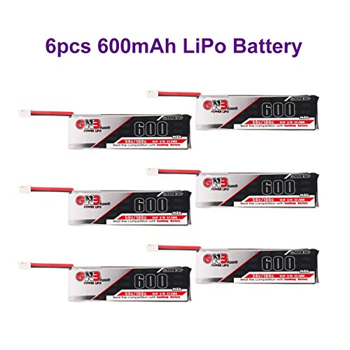 1S LiPo Battery 6pcs 600mAh 1S LiPo Battery 3.7V JST-PH 2.0 Powerwhoop Connector for Micro FPV Racing Drone Inductrix FPV Plus Tiny 7 etc