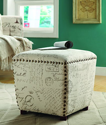 Traditional Upholstered Ottoman - Coaster Casual Off-White/Grey Upholstered Ottoman with Nailhead Trim