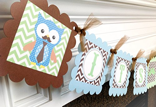 It's a Boy! Baby Shower Banner - Little Man Owl Baby Shower Collection - Green & Brown Chevron with Baby Blue Accents - Party Packs Available]()