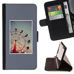 For Samsung Galaxy S4 IV I9500 Case , Rueda minimalista azul Night Lights- la tarjeta de Crédito Slots PU Funda de cuero Monedero caso cubierta de piel