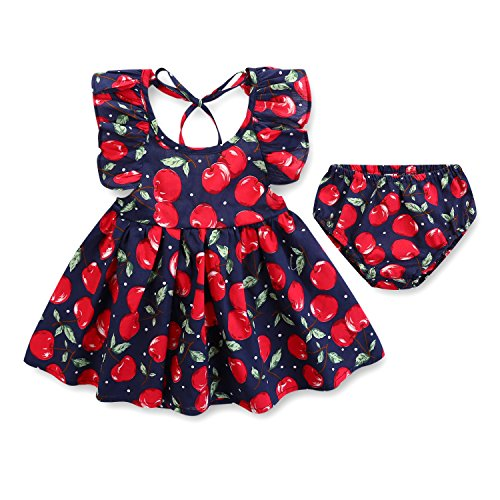 Armelo's Baby Girl Infant Newborn Casual 2-Piece Summer Navy Blue Cherry Dress set with Briefs(3-6 Months) ()