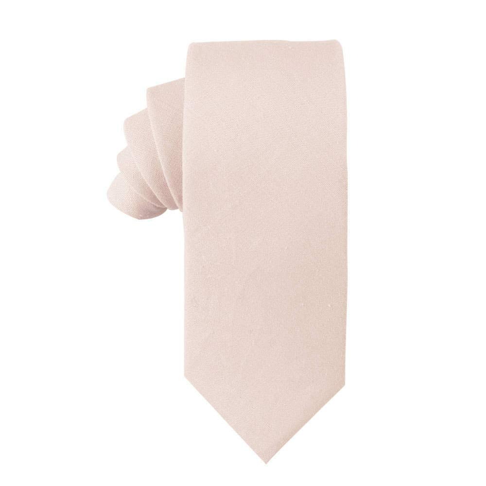 Cotton Blush Skinny Ties Linen Neckties | Wedding Ties for Groomsmen | Tie for Groom (Skinny Tie, Blush Beige)