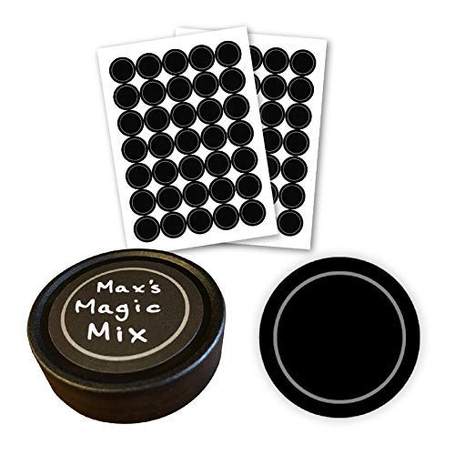 AllSpice 70 Black Water Resistant Round Spice Jar Labels Set 1.5- Fits Penzeys and AllSpice Jars- Blank