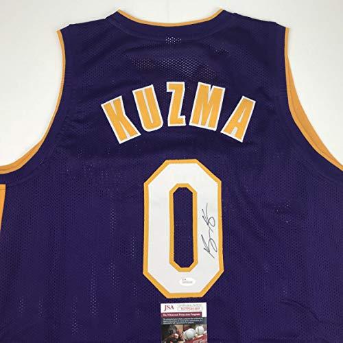 Autographed/Signed Kyle Kuzma Los Angeles LA Purple Basketball Jersey JSA COA