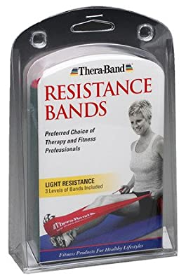 Thera-Band Light Set of 3 - 5FT Latex Resistance Exercise Bands Yellow, Red & Green - Polybag from Hygenic Corp