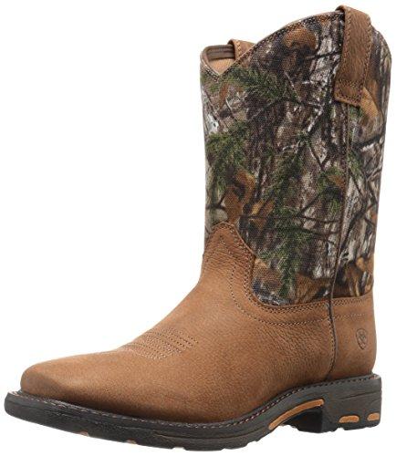 Kids' Workhog Wide Square Toe Western Cowboy Boot, Aged Bark, 2.5 M US Little Kid