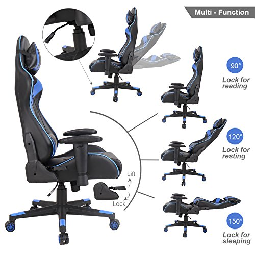 51S7EoFXDEL - Racing-Chair-Swivel-Office-Executive-Gaming-Computer-Chair-Desk-Task-Ergonomic-Rocker-PU-Leather-with-Lumbar-Support-and-Head-Support-Cushion-for-Home-Adjustment-High-Back-Chairs