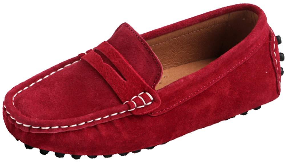 VECJUNIA Boys Girls Slip-On Loafer Shoes Non-Slip (Toddler/Little Kid/Big Kid) (Red, 11 M US Little Kid)