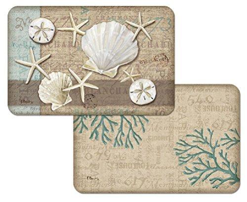 Set-of-4-Tropical-Placemats-Linen-Shells-Reversible-Washable-Plastic