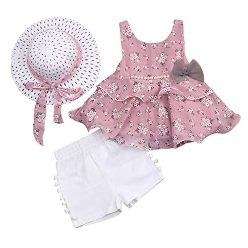 Toddler Baby Girls Summer Clothes Sets Floral Bow-not Suspender Top + White Short Pant + Hat 3pcs (Pink, 2-3T)