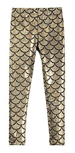 City Threads Girls Leggings Metallic Mermaid Print Shiny ...