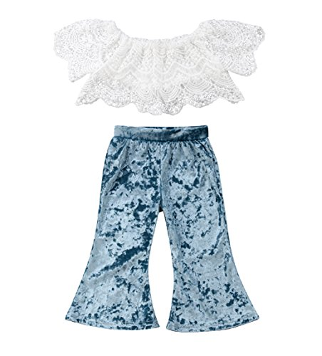 - rechange Baby Girls Pants Set Off Shoulder Short Sleeve Lace Crop Top + Velvet Long Bell Bottom Pants Outfits (2-3 Years)