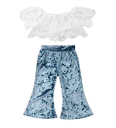 rechange Baby Girls Pants Set Off Shoulder Short Sleeve Lace Crop Top + Velvet Long Bell Bottom Pants Outfits (3-4 Years) ()