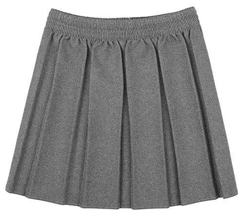21Fashion Girls Kids School Uniform Box Pleated Elasticated Waist Skirt (5-6 Years, Grey)