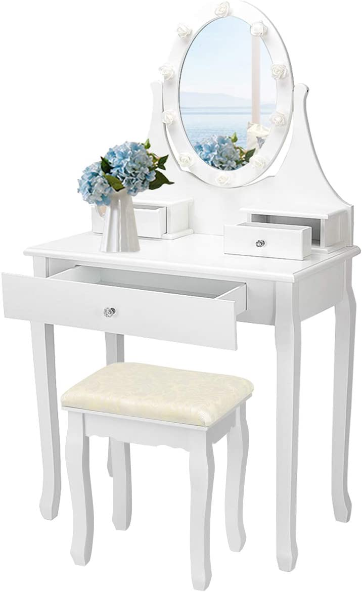 CHARMAID Vanity Table with 10 LED Lights in Rose Decoration and 360° Rotating Mirror, Makeup Dressing Table with Cushioned Stool and 3 Drawers (White)