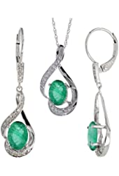 14k White Gold Dangle Earrings (19mm tall) & 18 in. Pendant-Necklace Set, w/ 0.20 Carat Brilliant Cut Diamonds & 3.64 Carats Oval Cut (7x5mm) Emerald Stones