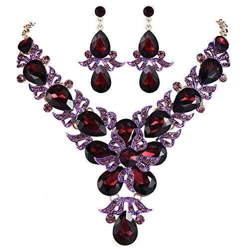 EVER FAITH Rhinestone Crystal Wedding Flower Leaf Teardrop Necklace Earring Set Purple ()