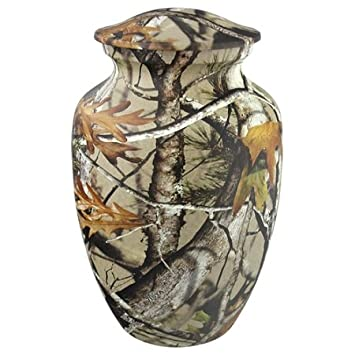 Silverlight Urns Classic Camouflage Urn, Medium Metal Urn for Ashes, Small Adult or Child Sized Urn, Camo Pattern, 8.75 Inches High
