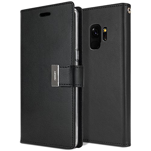 MERCURY Galaxy S9 Case for Samsung Galaxy S9, [Tri-Fold Wallet Case] Rich Diary [Drop Protection] PU Leather Cover [Perfect Fit] Shock Absorbing TPU Casing [ID Card & Cash Holders]