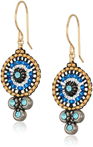 (Miguel Ases Triple Swarovski Suspended Circle Drop Earrings, Egyptian Blue)