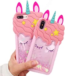 Cute 3D Pink Bling Unicorn Dynamic Quicksand Glitter Silicone Protector Case Gel Cover ~ Estuche Fundas