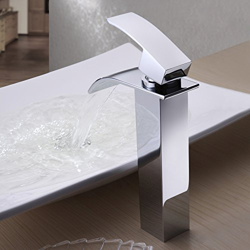 durable service Ouku Single Handle Waterfall Bathroom Vanity Sink Faucet with Extra Large Rectangular Spout Bathtub Faucets Chrome Lavatory Widespread Bath Tub Shower Mixer Taps Lavatory Ceramic Valve Included Vessel Sink Faucets Plumbing Fi